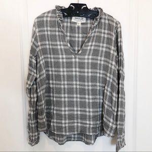 Cloth and Stone V Neck Gray Plaid Shirt XS